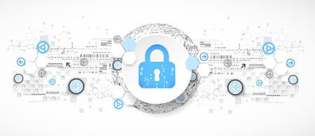 concepto de protección. mecanismo de seguridad, sistema de privacidad. fondo de la tecnología digital. Vector Ilustración de vector