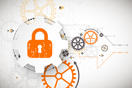 security system: Protection concept. Security mechanism, system privacy. Digital technology background. Vector