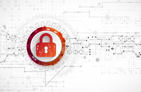Concetto di protezione. meccanismo di sicurezza, la privacy del sistema. sfondo di tecnologia digitale. Vettore