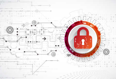 security technology: Protection concept. Security mechanism, system privacy. Digital technology background. Vector