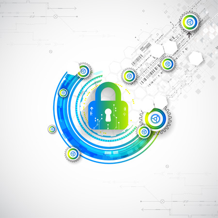concepto de protección. mecanismo de seguridad, sistema de privacidad. fondo de la tecnología digital. Vector