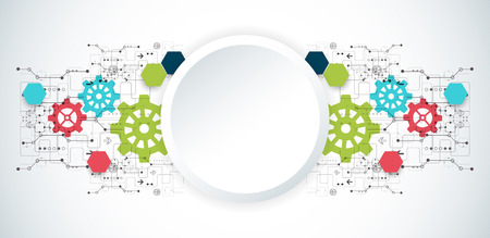 engineering and technology: Vector illustration. Cogwheel hi-tech digital technology and engineering background.