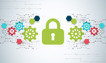 decryption: Protection concept. Security mechanism, system privacy. Digital technology background. Vector