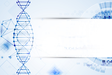 biotech: Science template, DNA molecules background. Vector illustration.