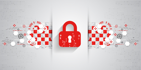 encode: Red protection background. Technology security, encode and decrypt, techno scheme, vector illustration Illustration
