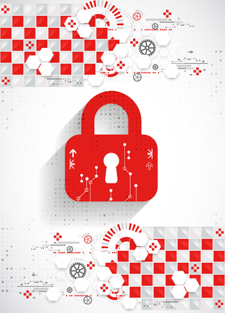 decrypt: Red protection background. Technology security, encode and decrypt, techno scheme, vector illustration Illustration