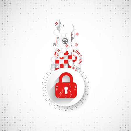 Red protection background. Technology security, encode and decrypt, techno scheme, vector illustration Illustration