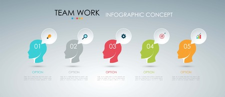 distributed: Info graphic teamwork. Business concept. Vector illustration.