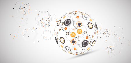 Abstract technology sphere background. Global network consept. Vector
