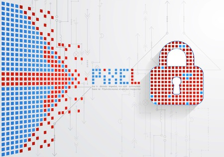 stealing data: Pixel protection concept. Vector illustration