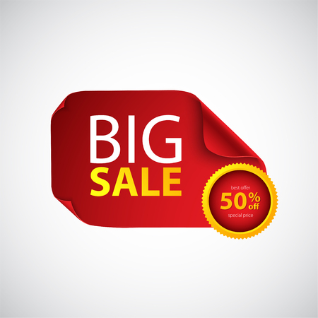Big sale. Red paper with curved corners.