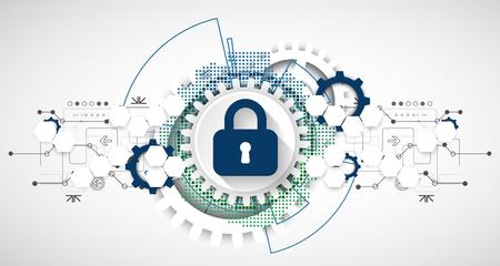 Koncepcja ochrony. Chroń mechanizm, prywatność systemu. Ilustracja wektorowa