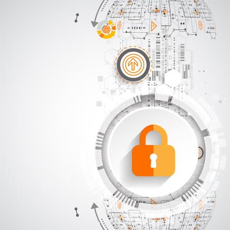 stealing data: Protection concept. Protect mechanism, system privacy. Vector illustration