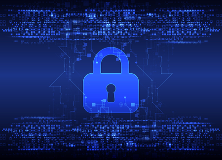 cybercrime: Protection concept. Protect mechanism, system privacy. Vector illustration