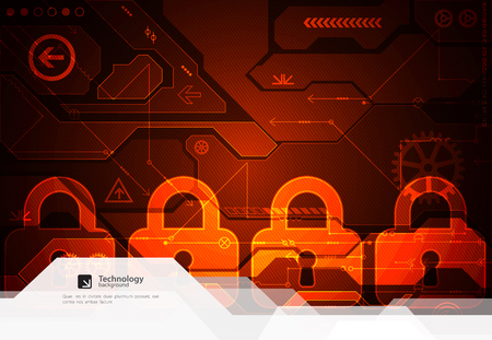 Protection concept. Protect mechanism, system privacy. Vector illustration