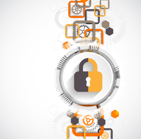 security monitor: Protection concept. Protect mechanism, system privacy. Vector illustration