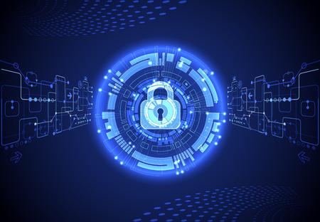 Pojęcie ochrony. Chroń mechanizm, prywatność systemu. Ilustracji wektorowych.