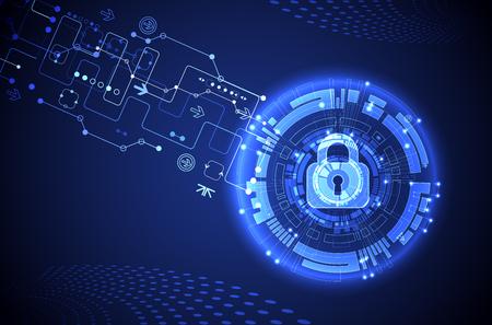 Concetto di protezione. Proteggere il meccanismo, la privacy del sistema. Illustrazione vettoriale.
