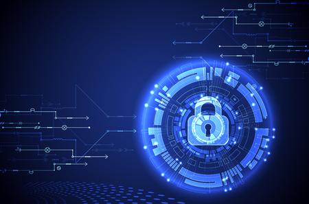 Concepto de protección. Proteger el mecanismo, la privacidad del sistema. Ilustración del vector.
