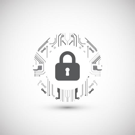 Concepto de protección Mecanismo de protección, privacidad del sistema. Ilustración vectorial