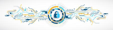 Concetto di protezione Proteggi il meccanismo, la privacy del sistema. Illustrazione vettoriale