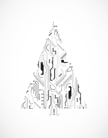 Technology Christmas Tree From Digital Electronic Circuit Royalty