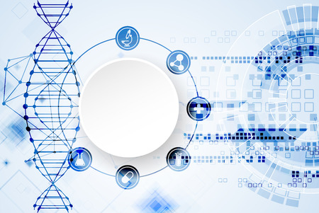科学テンプレート、壁紙または DNA 分子とバナー。ベクトルの図。