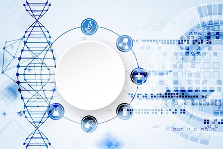 plantilla de la ciencia, el papel pintado o un banner con moléculas de ADN. Ilustración del vector. Ilustración de vector
