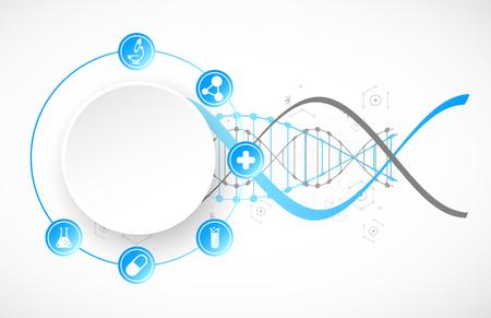 Szablon naukowy, tapeta lub baner z cząsteczkami DNA. Ilustracji wektorowych.