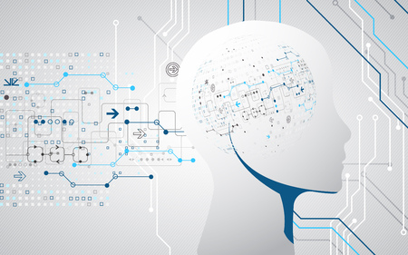 Creative brain concept background. Artificial Intelligence concept. Vector science illustration.