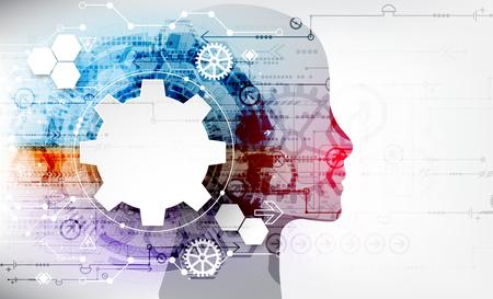 Tło koncepcja kreatywnego mózgu. Koncepcja sztucznej inteligencji. Ilustracja wektorowa nauki.