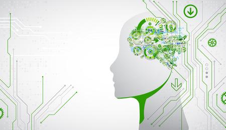 Kreativer Gehirnkonzepthintergrund. Konzept der künstlichen Intelligenz. Vektor-Wissenschaft-Illustration.