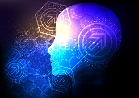 Arrière-plan du concept créatif cerveau. Concept d'intelligence artificielle. Illustration de science vectorielle. Banque d'images - 92690096