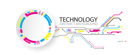 Abstract technological background with various elements. CMYK concept vector