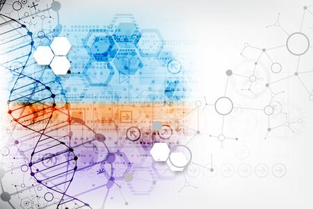 Science template, wallpaper or banner with a DNA molecules. Vector illustration. Ilustração Vetorial