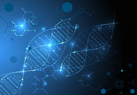 Papel tapiz o pancarta con moléculas de ADN. Ilustración de vector.