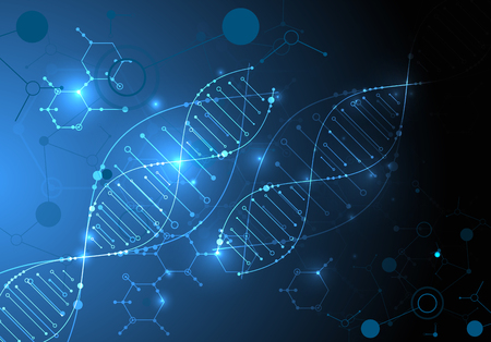 Wallpaper or banner with a DNA molecules. Vector illustration. 版權商用圖片 - 100984816