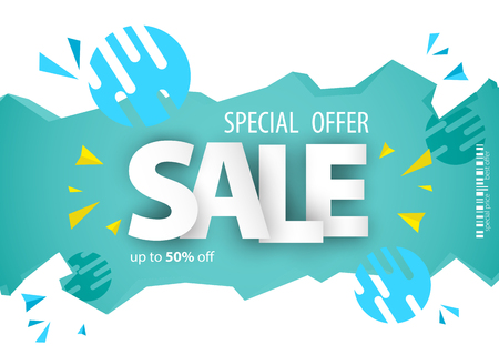 Sale banner template design for your business. Vector illustration.