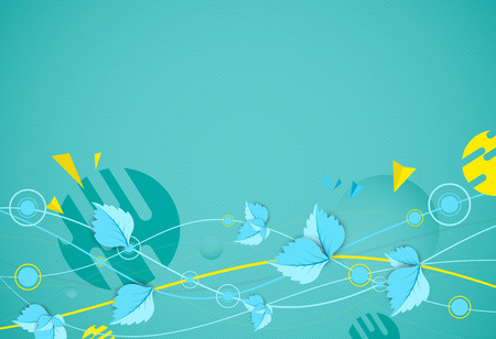 Green color wave with leaves. Nature theme vector