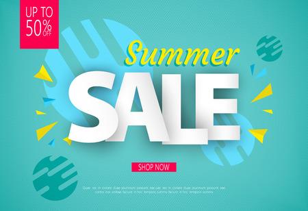 Summer Sale banner design for your business. Vector illustration. Illustration