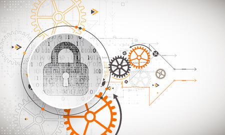 Concetto di protezione. Proteggi il meccanismo, la privacy del sistema. Illustrazione vettoriale