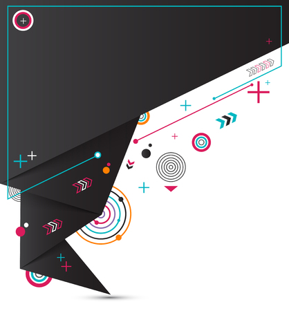 Minimal geometric shapes composition. Abstract origami vector background. Illustration