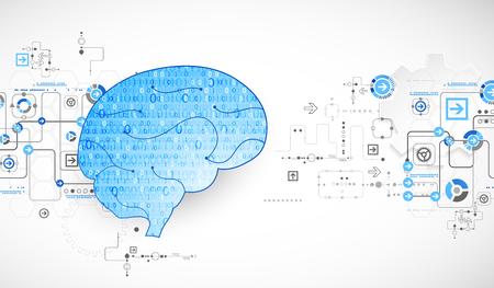 Abstract digital brain,technology concept. Vector Illustration