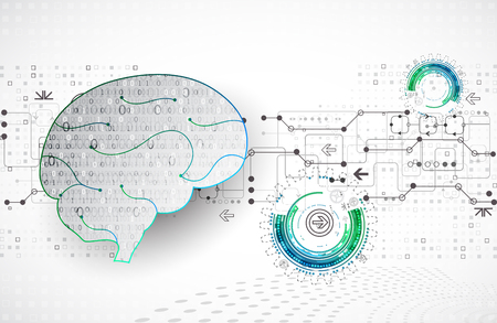 Abstract digital brain,technology concept. Vector Stock Illustratie