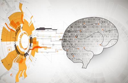 Abstract digital brain,technology concept. Vector