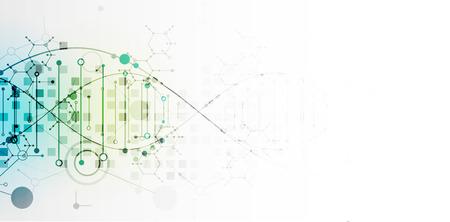 Wissenschaftsvorlage, Tapete oder Banner mit DNA-Molekülen. Vektor-Illustration.