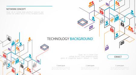 Netzwerkkonzept. Isometrisches Thema für Ihr Unternehmen. Vektorillustration