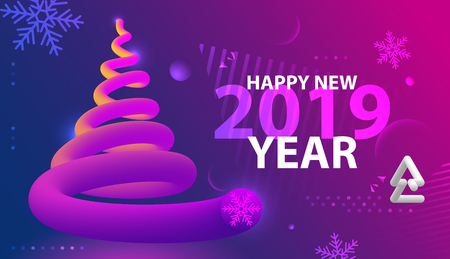 Happy New year party poster. Abstract wave gradients background. Vector illustration.