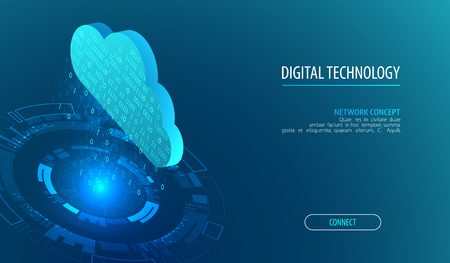 Isometric big data flow processing concept, cloud database. Abstract technology background. Vector illustration
