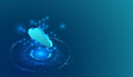 Isometric big data flow processing concept, cloud database. Abstract technology background. Vector illustration Ilustracje wektorowe